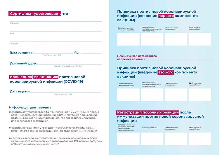 Сертификат с отметками о вакцинации от Ковид-19 в Крымске. Образец справки